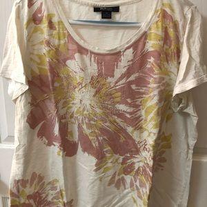 Floral print scoop neck summer shirt